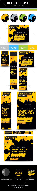 Retro Splash Banner Theme - Banners & Ads Web Elements