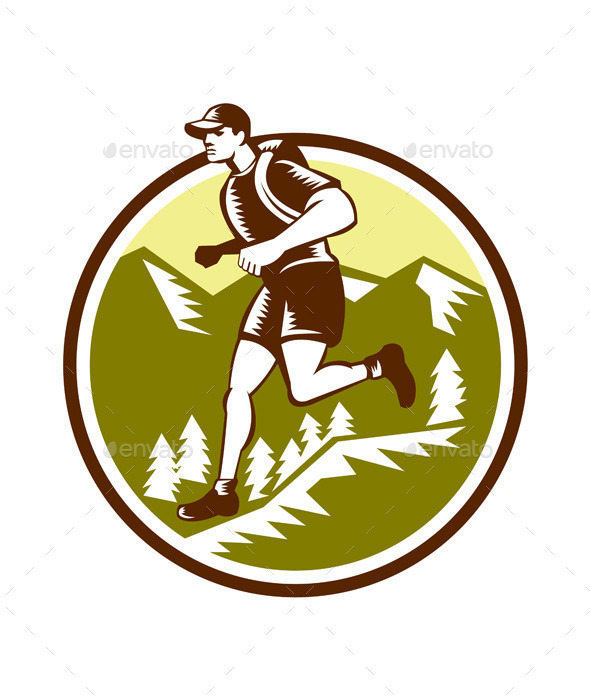 Cross Country Runner Mountains Circle Woodcut - Sports/Activity Conceptual