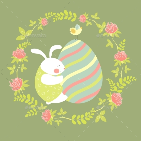 Easter Bunny and Easter Egg  - Miscellaneous Seasons/Holidays