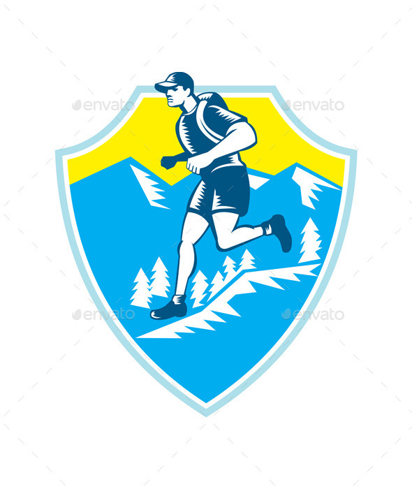 Cross Country Runner Mountains Shield Woodcut - Sports/Activity Conceptual