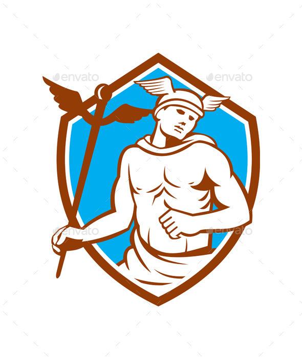 Mercury Holding Caduceus Staff Shield Retro - People Characters