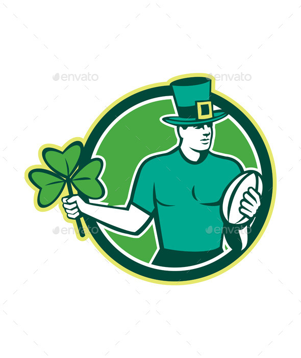 Irish Rugby Player Holding Shamrock  - Sports/Activity Conceptual