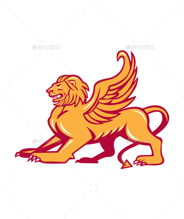 Winged Lion Side Retro - Animals Characters