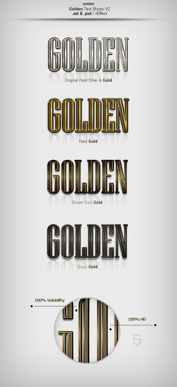 Golden Text Styles V2 - Text Effects Actions