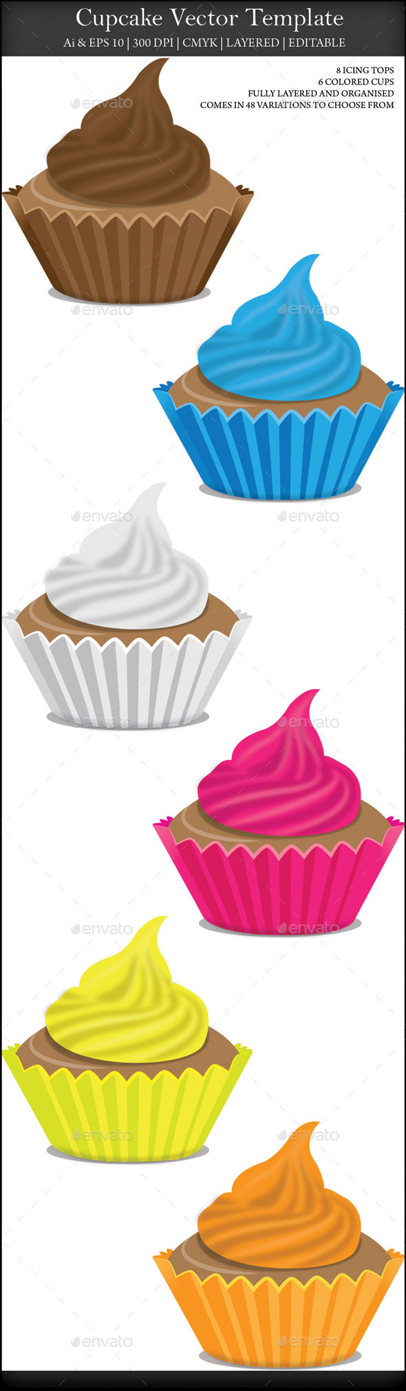 Cupcake Collection Set - Food Objects