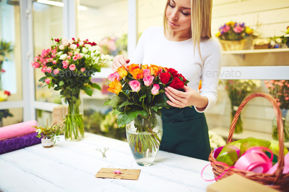 Working in flower shop - Stock Photo - Images