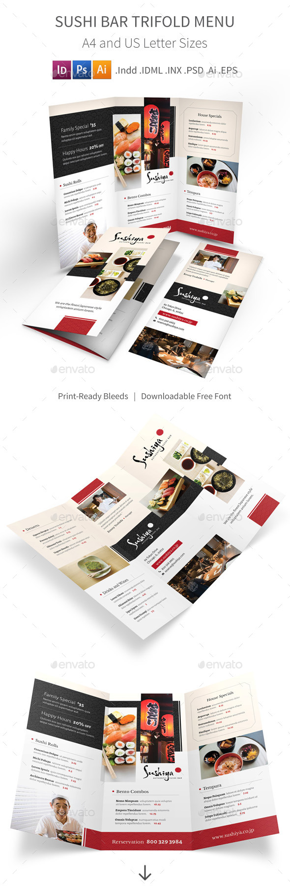 Sushi Bar Trifold Menu - Food Menus Print Templates
