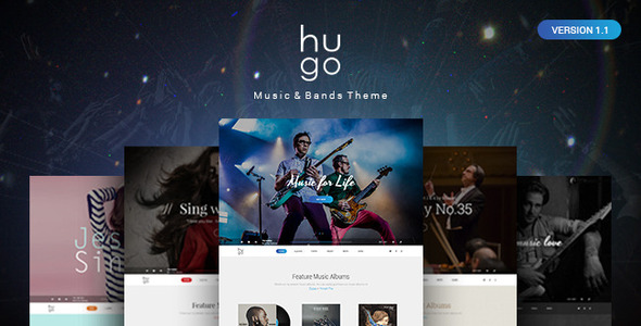 Hugo | Music & Bands PSD Theme - Entertainment PSD Templates