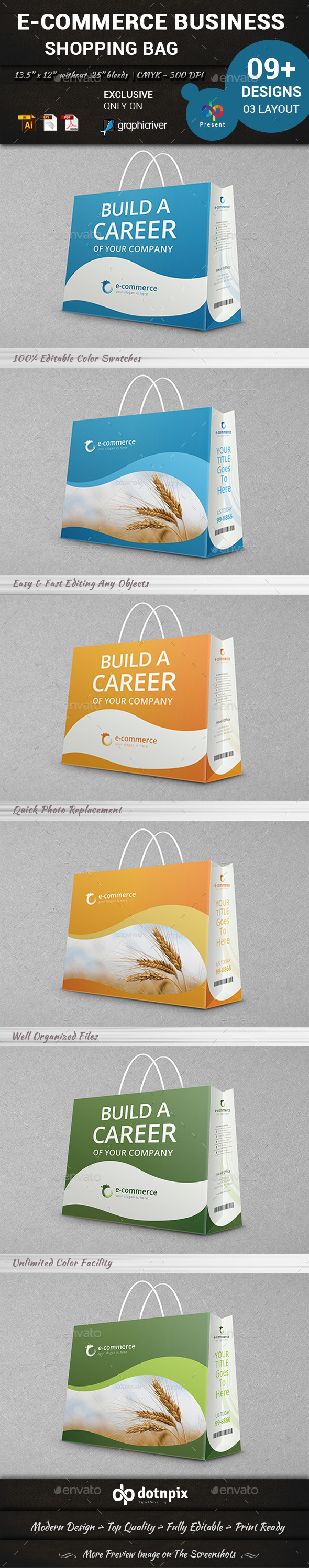 E-Commerce Business Shopping Bag - Packaging Print Templates