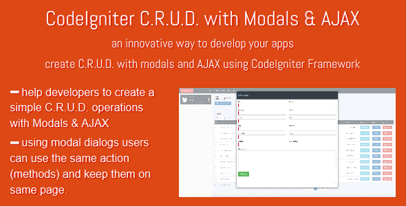 CodeIgniter C.R.U.D. with Modals & AJAX - CodeCanyon Item for Sale