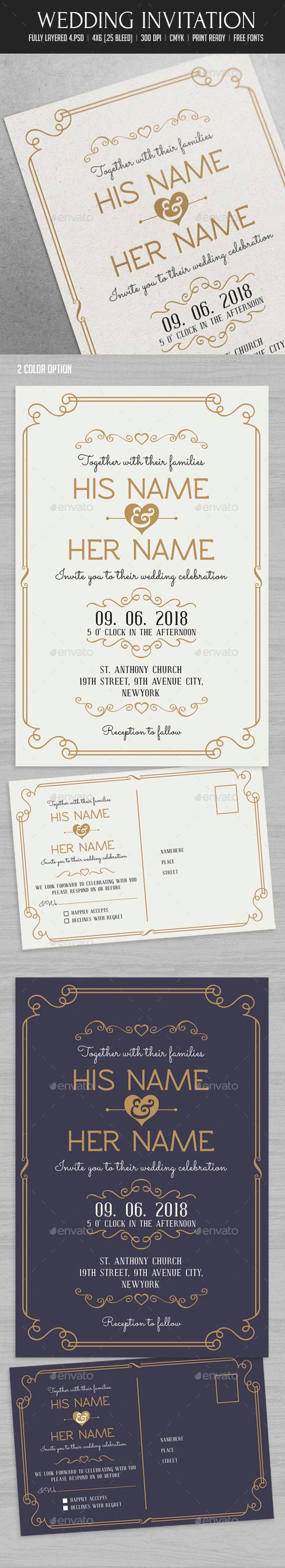 Wedding Invitation - Cards & Invites Print Templates