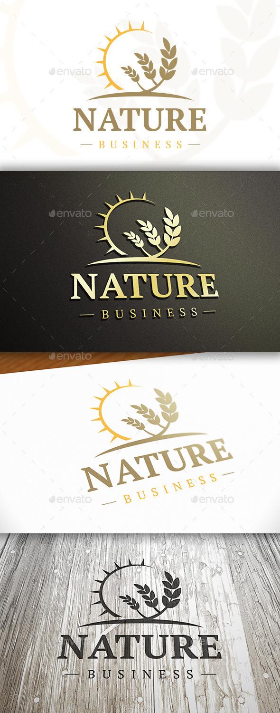 Wheat Sun Logo - Nature Logo Templates
