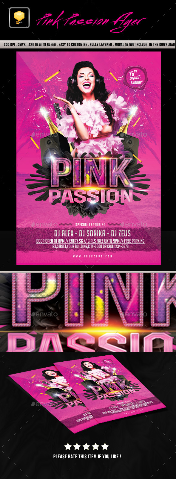 Pink Passion Flyer - Clubs & Parties Events