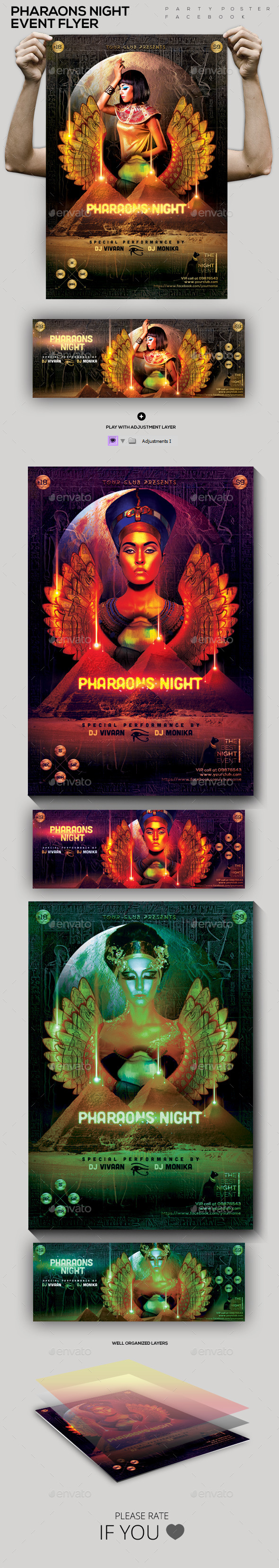 Pharaons Night  Event Flyer/ Poster/ FB Cover - Clubs & Parties Events