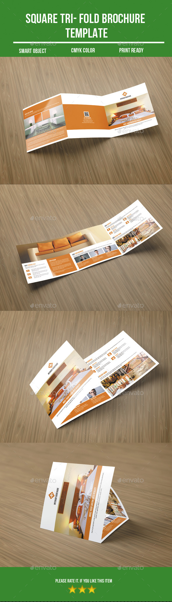Square Tri- Fold Interior Brochure - Corporate Brochures
