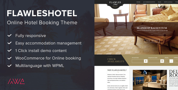 Flawleshotel - Online Hotel Booking Theme - Travel Retail