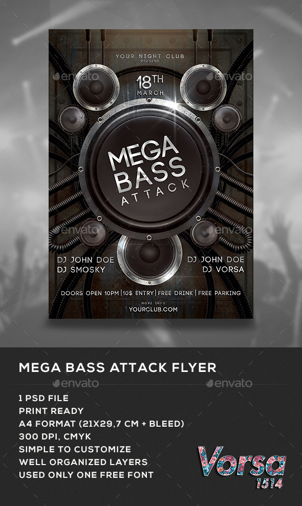 Mega Bass Attack Flyer - Clubs & Parties Events