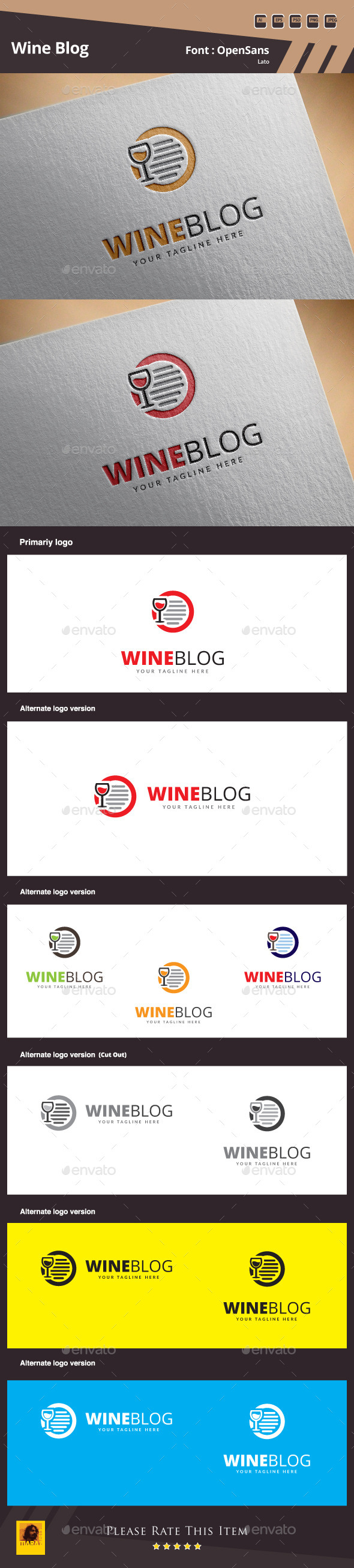 Wine Blog Logo Template - Symbols Logo Templates