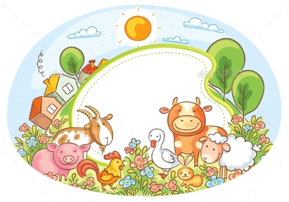Oval Frame with Farm Animals - Animals Characters