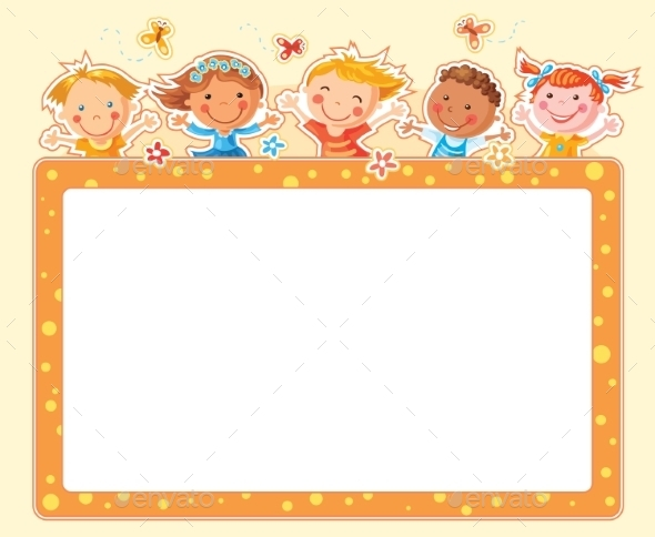 Happy Kids Rectangular Frame  - Borders Decorative