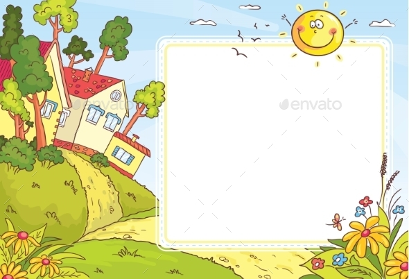 Square Frame with Countryside Landscape - Landscapes Nature