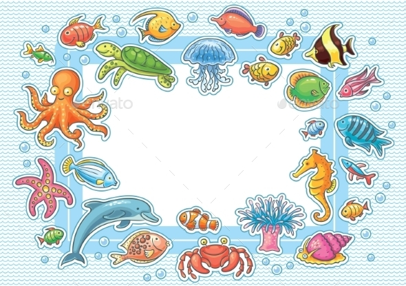 Frame with Sea Animals - Animals Characters