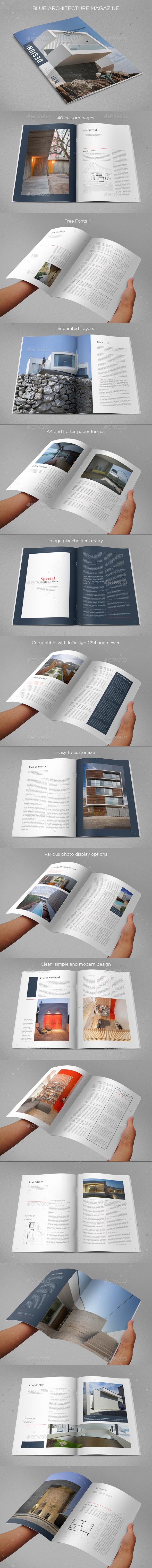 Blue Architecture Magazine - Magazines Print Templates