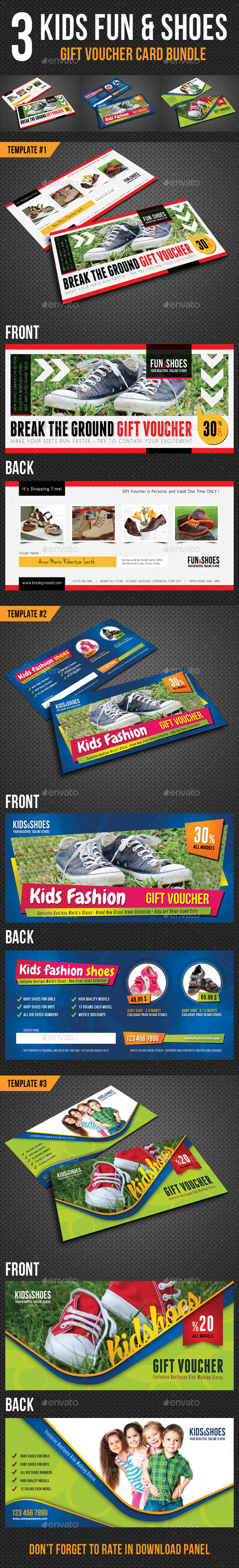 3 in 1 Kids Fun and Shoes Gift Voucher Bundle - Cards & Invites Print Templates