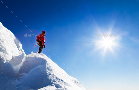 A climber takes a rest. Italian Alps, Europe. - Stock Photo - Images