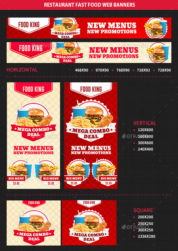 Restaurant Fast Food Web Banners - Banners & Ads Web Elements