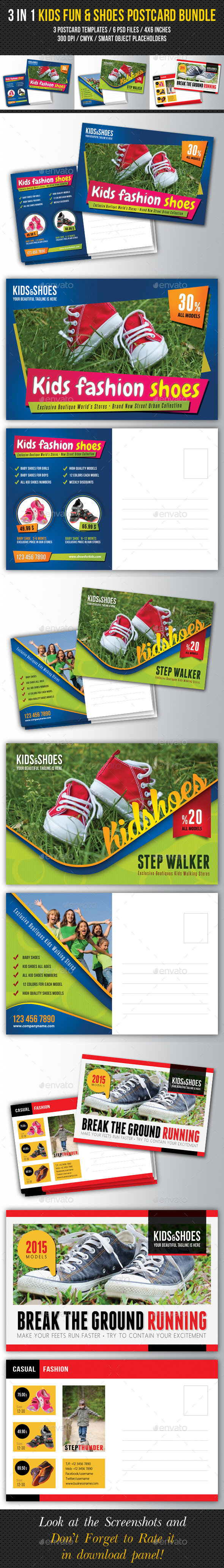 3 in 1 Kids Fun and Shoes Postcard Bundle - Cards & Invites Print Templates