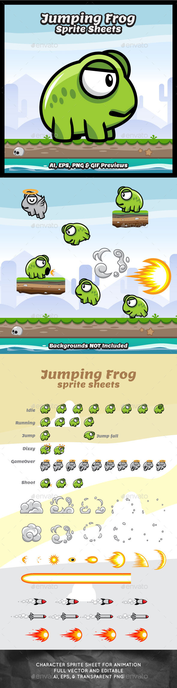 Jumping Frog Sprite Sheets Game Character - Sprites Game Assets