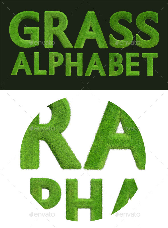 Grass Alphabet - Text 3D Renders