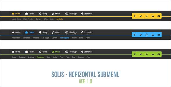 Solis - Horizontal Submenu - CodeCanyon Item for Sale