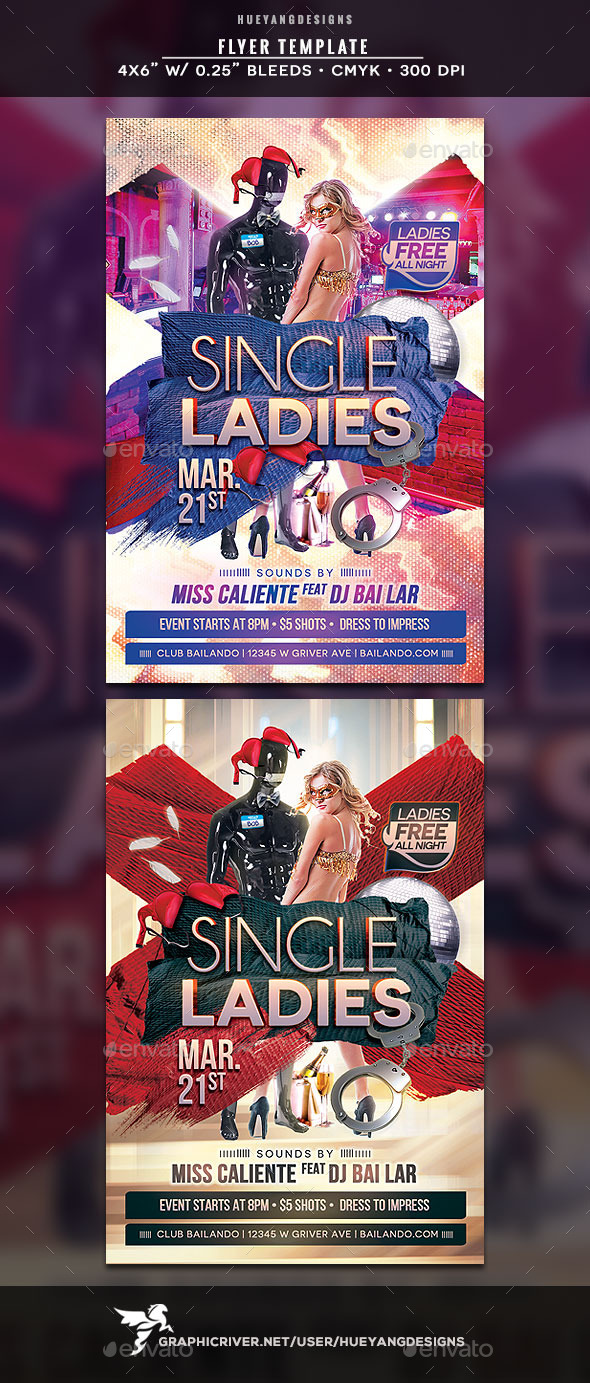 Single Ladies Flyer - Clubs & Parties Events