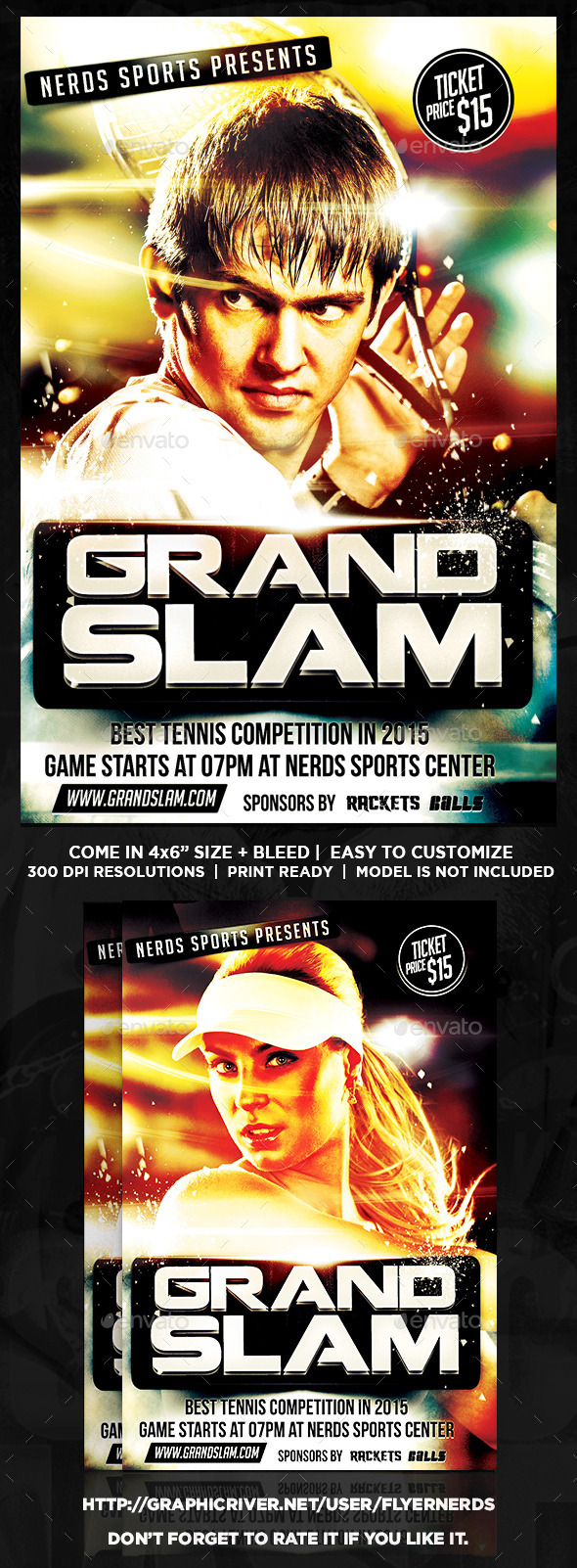 Grand Slam Tennis Sports Flyer - Sports Events