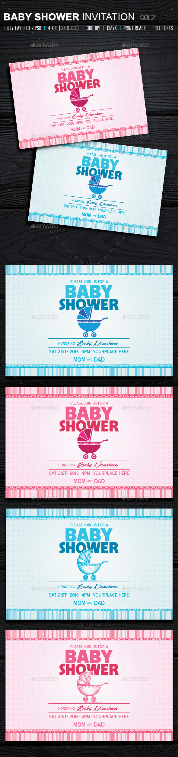 Baby Shower Invitation 2 - Cards & Invites Print Templates