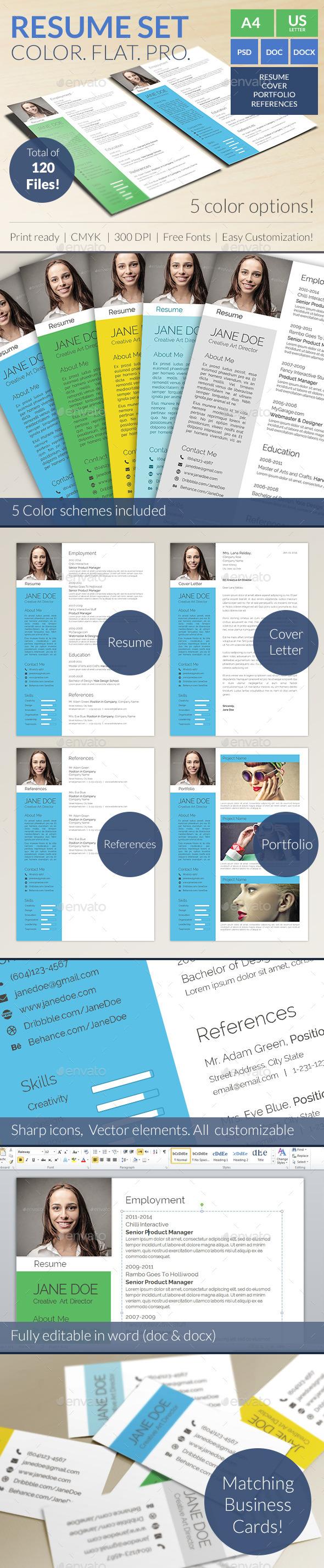 Colorful Flat Resume Set - Resumes Stationery