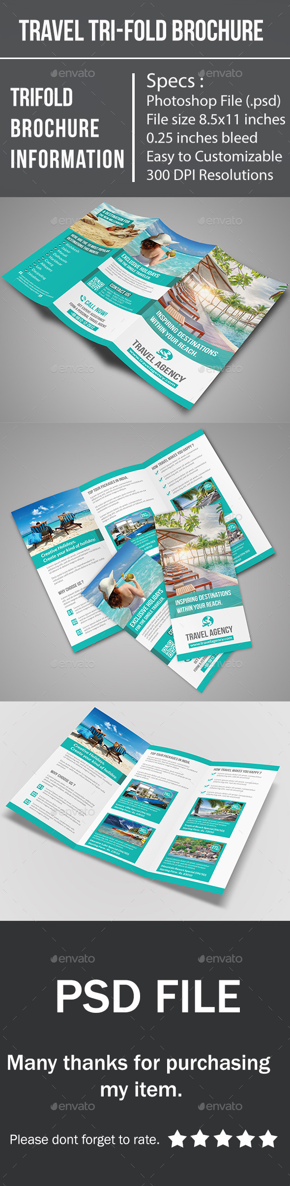 tri fold travel brochure template - travel tri fold brochure by buntichauhan123 graphicriver