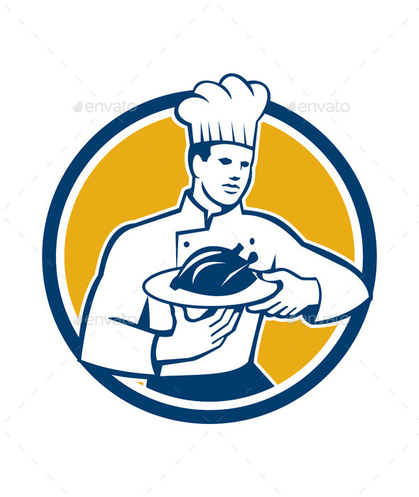 Chef Serving Chicken Platter Retro Circle  - People Characters