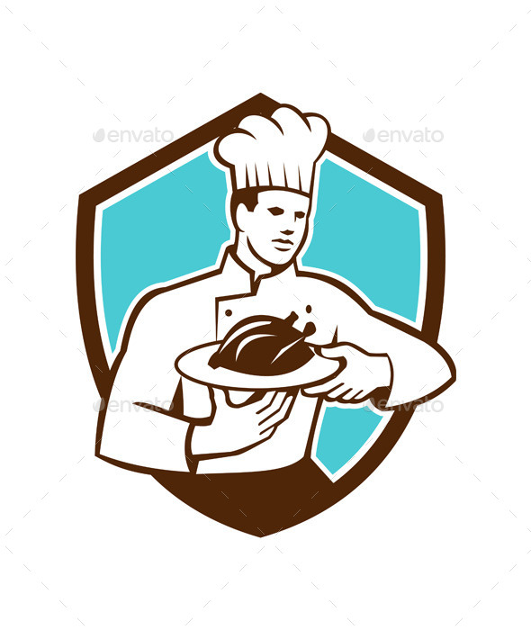 Chef Serving Chicken Platter Retro Shield  - People Characters