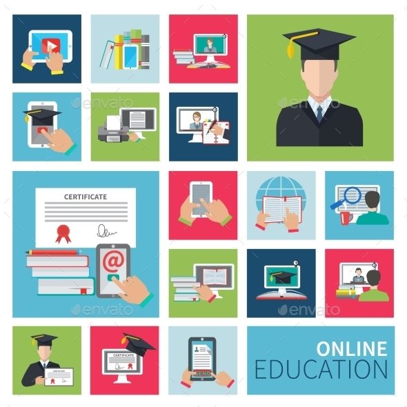 Online Education Flat Icons - Miscellaneous Vectors