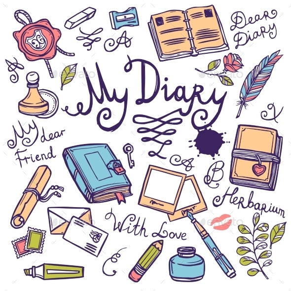 Diary Writing Instrument Set - Miscellaneous Vectors