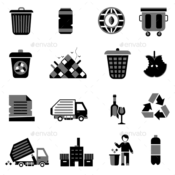 Garbage Icons Black - Web Elements Vectors