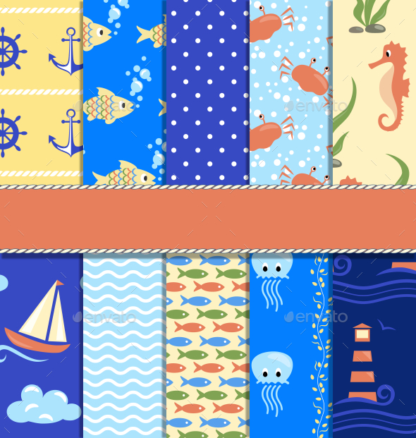 Set of 10 Seamless Sea Patterns - Backgrounds Decorative