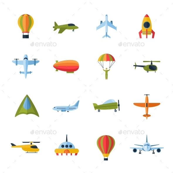 Aircraft Icons Set Flat - Objects Icons