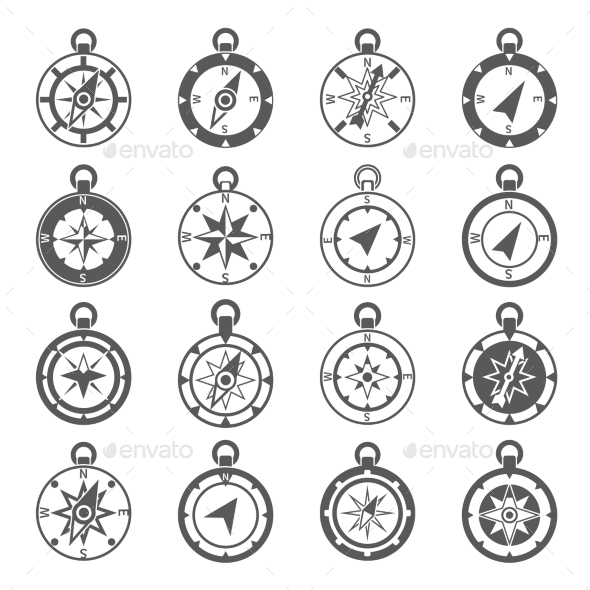 Compass Icon Set - Travel Conceptual