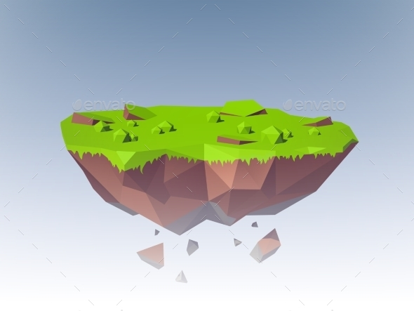 Flying Island Polygonal - Nature Conceptual