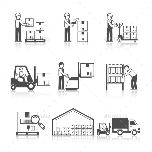 Warehouse Icon Black - Miscellaneous Vectors