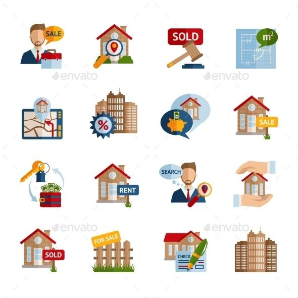 Real Estate Icons Set - Business Conceptual